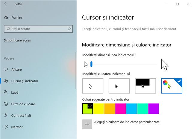 Schimbă mărimea și culoarea indicatorului pentru o vizibilitate mai bună