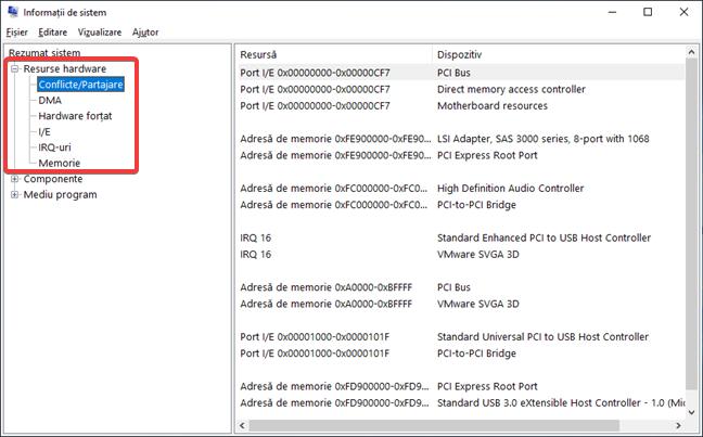 Conflicte/Partajare în Informații de sistem în Windows