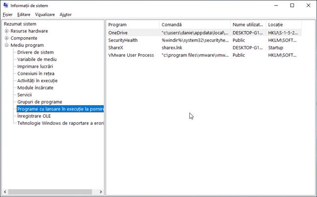 Programe cu lansare în execuție la pornire în Informații de sistem în Windows
