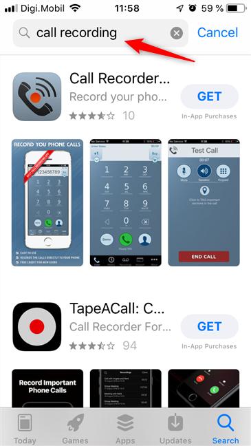 Căutarea de aplicații care înregistrează apeluri telefonice, în App Store