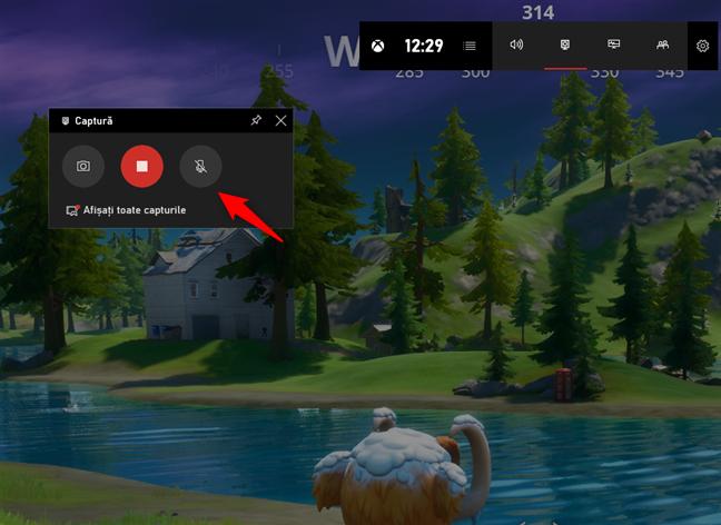 Butonul de microfon din widget-ul Captură