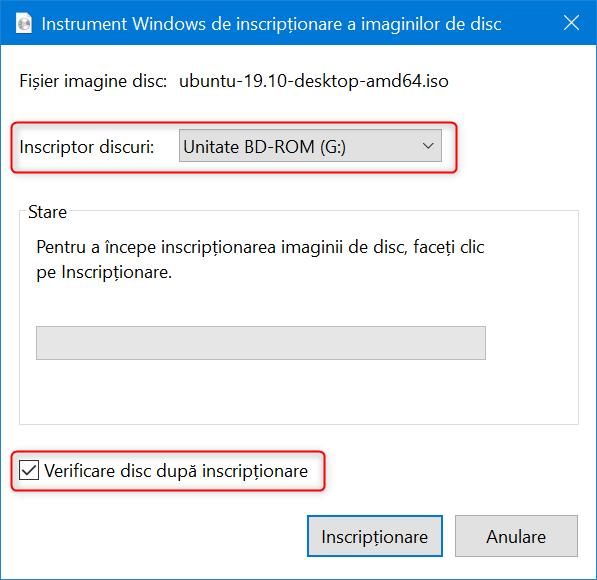 Alegerea inscriptorului de disc și verificarea discului după inscripționare