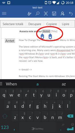 Microsoft Word, Android, documente, insereaza, antet, subsol, numar de pagina