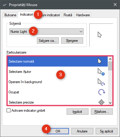 Activarea cursoarelor personalizate în Windows 10
