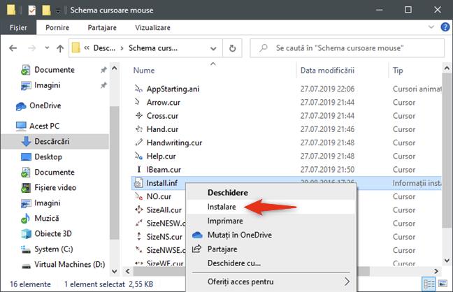 Opțiunea Instalare pentru cursoarele de mouse se găsește în meniul clic dreapta