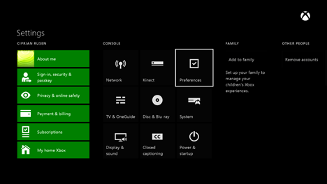 Xbox One, Instant sign-in, autentificare, rapida