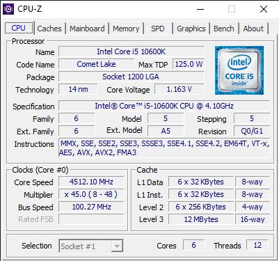 Detalii din CPU-Z despre Intel Core i5-10600K