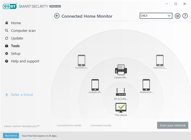 Funcția Connected Home Monitor din ESET Smart Security Premium