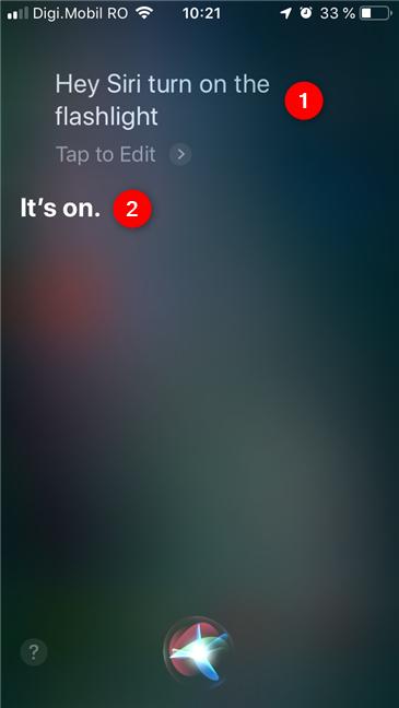 Cum îi ceri lui Siri să pornească lanterna
