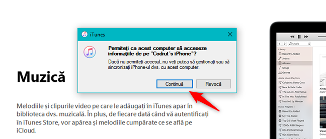 Permitere PC pentru acces la informațiile de pe iPhone