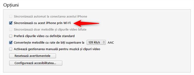 Activare sincronizare între iPhone și Windows 10 prin Wi-Fi