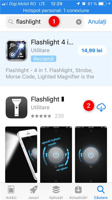 Căutarea și instalarea unei aplicații de lanternă din App Store