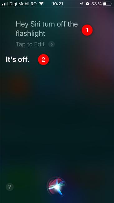 Cum îi ceri lui Siri să oprească lanterna