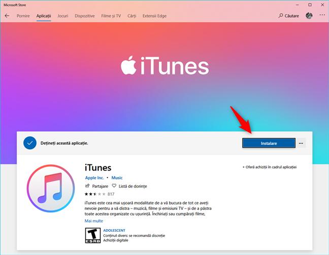 Pagina iTunes din Magazinul Microsoft