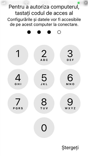 Codul PIN utilizat pe iPhone