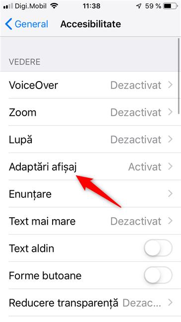 Setările de Adaptări afișaj de pe un iPhone