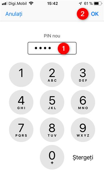 Introducerea unui nou cod PIN pe un iPhone