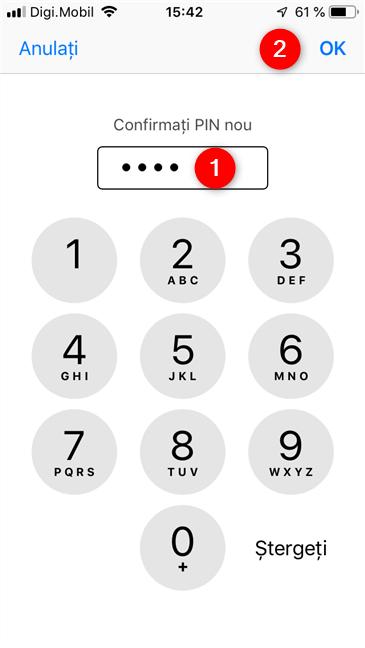 Confirmarea noului cod PIN pe un dispozitiv iPhone