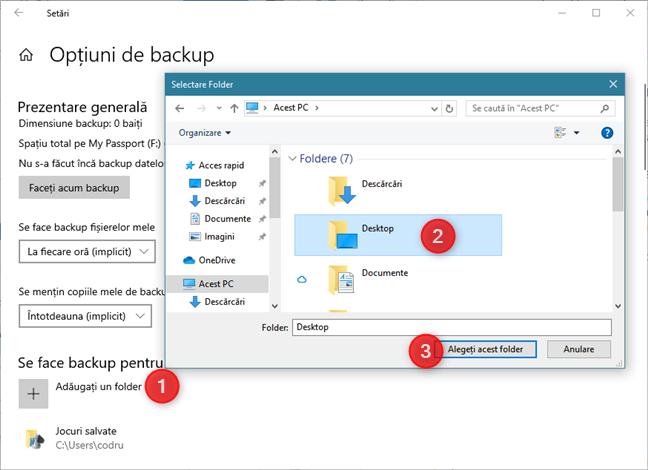 Adăugarea de foldere noi la lista de date pentru care se face backup cu Istoric fișiere