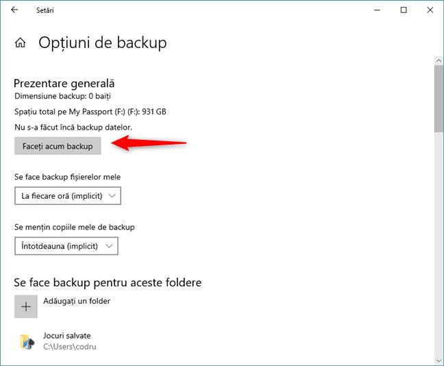 Rularea unui backup manual cu Istoric fișiere