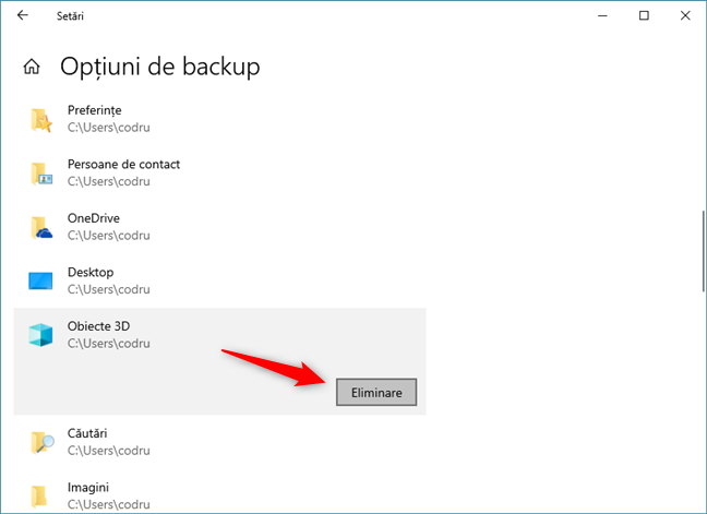 Ștergerea de elemente din lista de foldere pentru care Istoric fișiere face backup