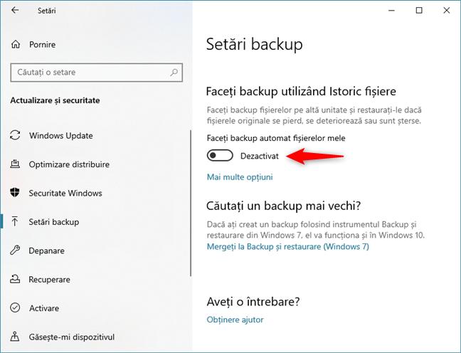 Dezactivarea backup-ului automat cu Istoric fișiere