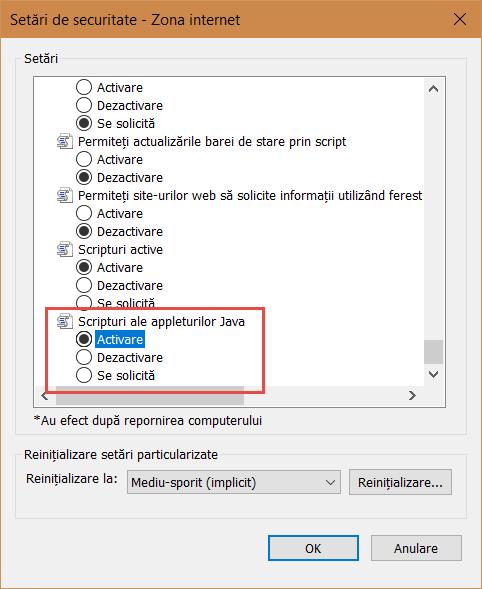 Activarea Scripturilor appleturilor Java în Internet Explorer