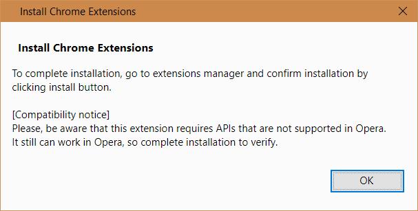 Apasă OK pentru instalarea Chrome Extensions