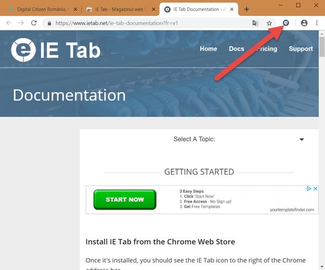 Butonul pentru activarea IE Tab din Google Chrome