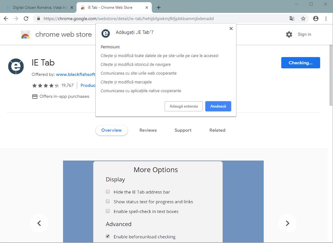 Adaugă extensia IE Tab în Google Chrome