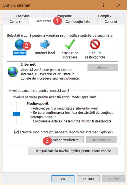 Setările de securitate din Internet Explorer