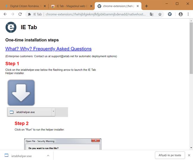 Descarcă fișierul necesar IE Tab, în Google Chrome