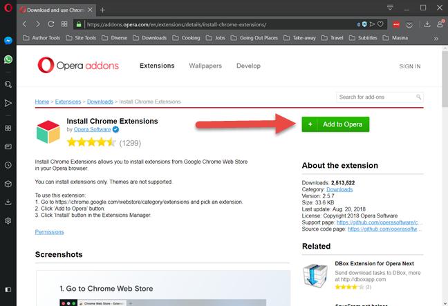 Instalează în Opera extensia Install Chrome Extensions