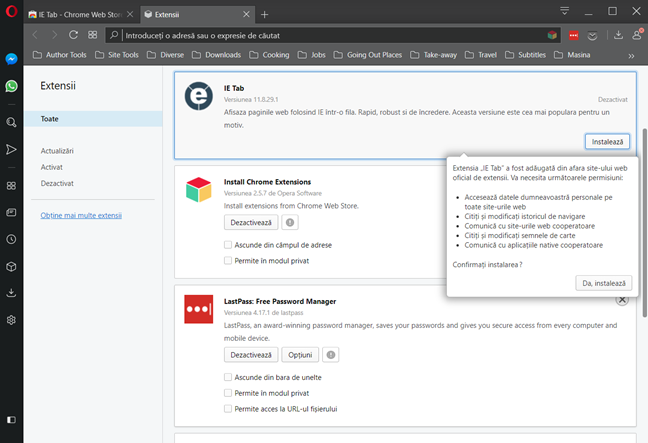 Instalează extensia IE Tab pentru Chrome în Opera