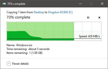 """Copierea unui fișier mare pe SSD-ul Kingston KC600 2.5"""" SATA"""