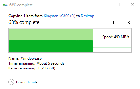 """Copierea unui fișier mare de pe SSD-ul Kingston KC600 2.5"""" SATA"""