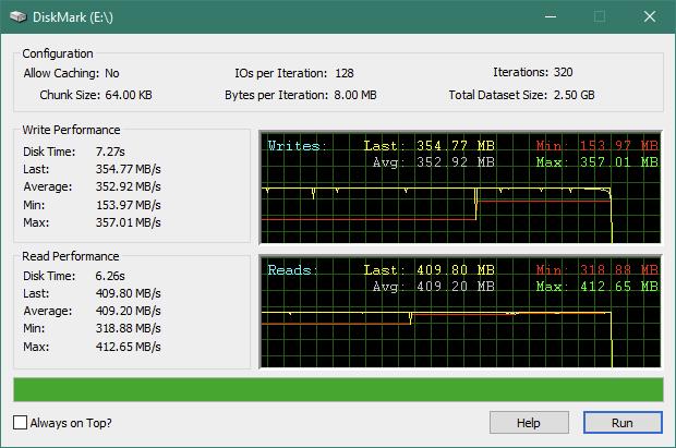 "Kingston KC600 2.5"" SATA SSD: Rezultate benchmark DiskMark"