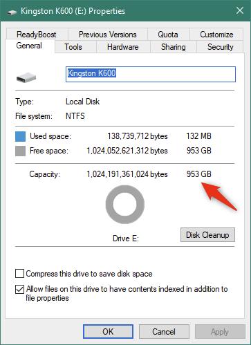 Proprietățile SSD-ului Kingston KC600 în Windows 10