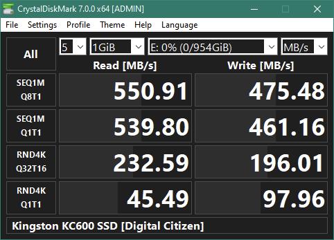 "Kingston KC600 1 TB 2.5"" SATA SSD: Rezultate benchmark CrystalDiskMark"
