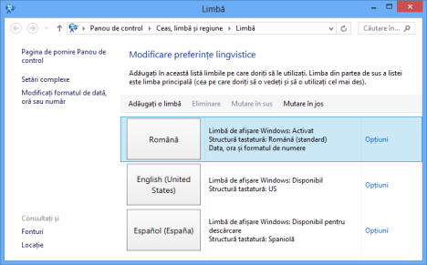 limba, tastatura windows 8