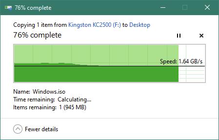 Copierea unui fișier mare de pe SSD-ul Kingston KC2500 1 TB M.2 NVMe PCIe