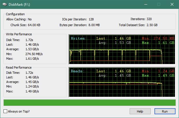 Kingston KC2500 1 TB M.2 NVMe PCIe SSD: Rezultate benchmark DiskMark