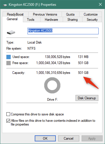 Detalii despre SSD-ul Kingston KC2500 afișate de Windows 10