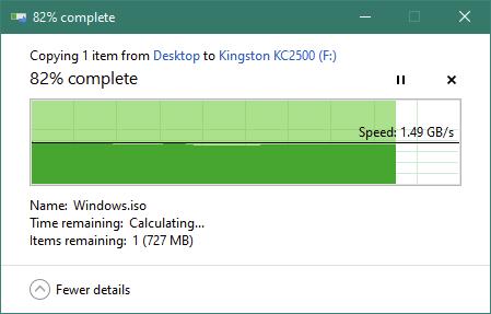 Copierea unui fișier mare pe SSD-ul Kingston KC2500 1 TB M.2 NVMe PCIe