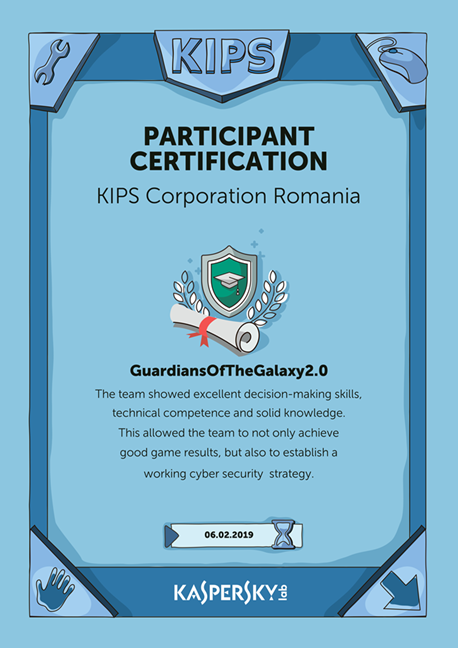 Diploma de participare Kaspersky Interactive Protection Simulation