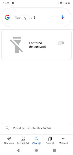 Asistentul Google stinge Lanterna