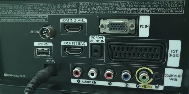 Opțiuni de intrare pe un monitor/TV mai vechi