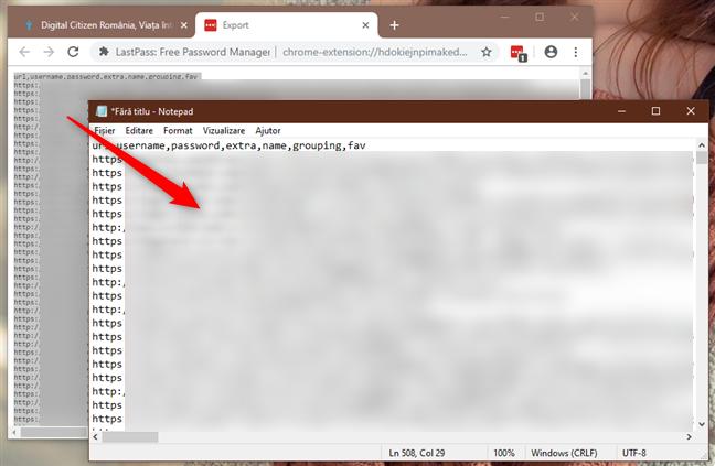 Copierea și Lipirea parolelor din LastPass într-un fișier text nou, folosind Notepad