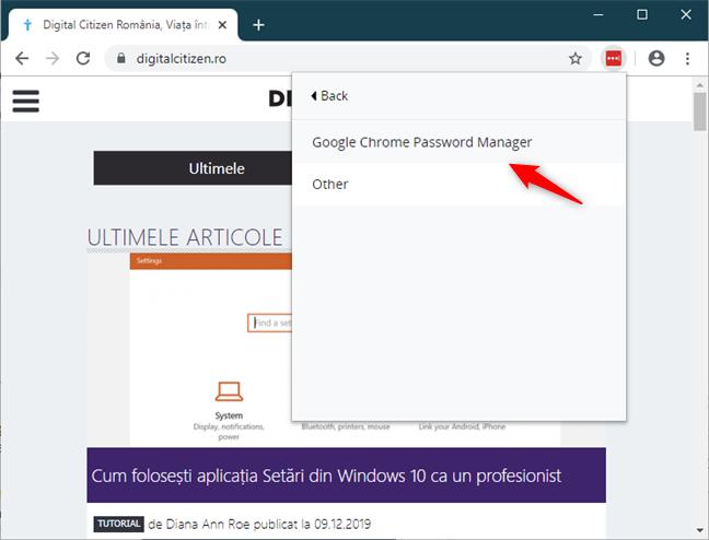 Alegerea de a importa parole din Google Chrome Password Manager