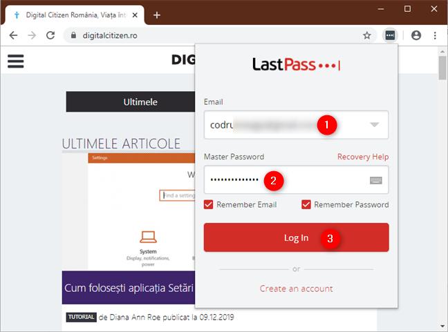 Introducerea detaliilor de conectare la LastPass